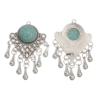 Turquoise Zinc Alloy Pendants, with Synthetic Turquoise, antique silver color plated, lead & cadmium free, 37x58x8mm, Hole:Approx 2mm, Sold By PC