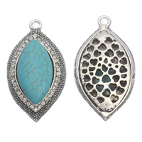 Turquoise Zinc Alloy Pendants, with Synthetic Turquoise, Leaf, antique silver color plated, with rhinestone & hollow, lead & cadmium free, 29x52x12mm, Hole:Approx 3mm, Sold By PC