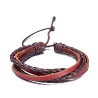 comeon® Jewelry Bracelet, Cowhide, with Waxed Cotton Cord, Unisex & adjustable, Length:Approx 11.8 Inch, Sold By Strand