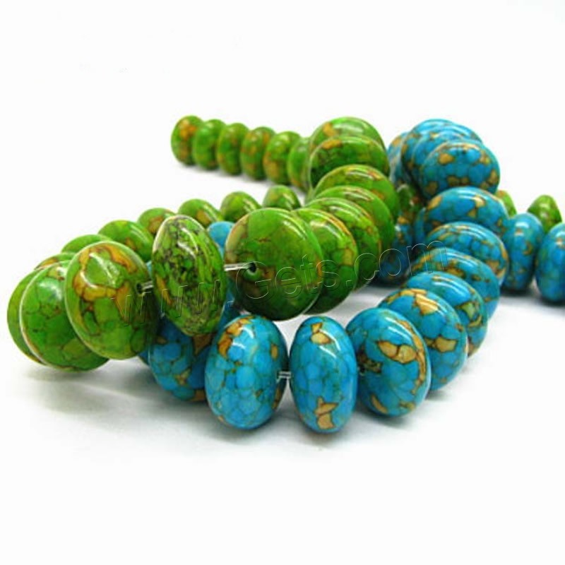 Mosaic Turquoise Beads Rondelle Synthetic
