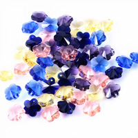 Crystal Jewelry Pendants, Flower, faceted, mixed colors, 14mm, Hole:Approx 1mm, Sold By PC