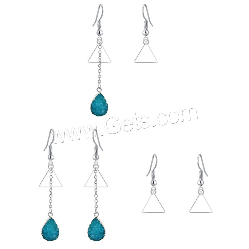 Resin Zinc Alloy Earring, with Resin, iron earring hook, Triangle, platinum color plated, imitation druzy quartz & different styles for choice, lead & cadmium free, 17mm, 68mm, Sold By Pair