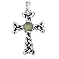 Aventurine Pendants, Stainless Steel, with Green Aventurine, Cross, natural, blacken, 28x42x6mm, Hole:Approx 4.5x7.5mm, Sold By PC