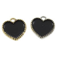 Zinc Alloy Heart Pendants, plated, enamel, more colors for choice, lead & cadmium free, 15x2mm, Hole:Approx 1mm, Sold By PC
