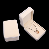 Velveteen Necklace Box, with Cardboard, Rectangle, beige, 74x104x45mm, Sold By PC