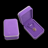 Velveteen Necklace Box, with Cardboard, Rectangle, purple, 74x104x45mm, Sold By PC