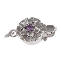 Brass Box Clasp, Flower, platinum color plated, with cubic zirconia, nickel, lead & cadmium free, 14x9x5mm, Hole:Approx 1mm, Sold By PC