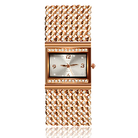 comeon® Women Jewelry Watch, Zinc Alloy, with Glass, Chinese movement, rose gold color plated, for woman & with rhinestone, 31mm, Length:Approx 7.8 Inch, Sold By PC