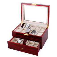 Wood Watch Box, with Velveteen & Glass & Zinc Alloy, Rectangle, gold color plated, 20 cells & stoving varnish, 293x213x162mm, Sold By PC