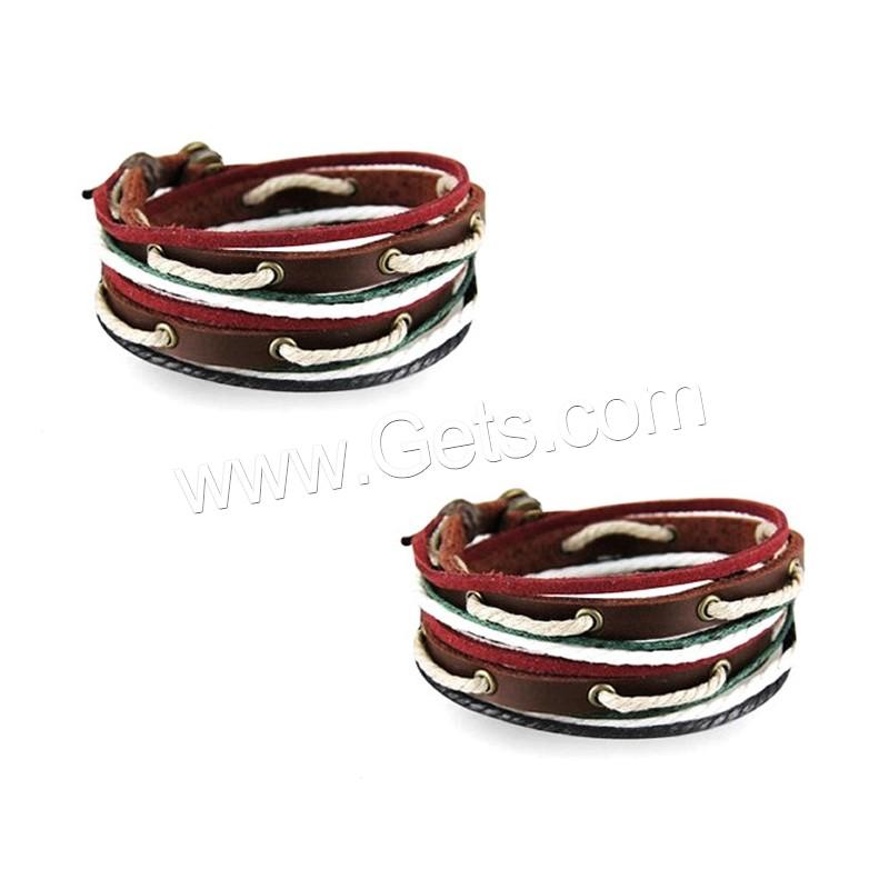 bracelet cowhide with waxed cotton cord zinc alloy