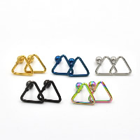 Stainless Steel Piercing Earring, Triangle, plated, more colors for choice, 10mm, 4mm, Sold By PC