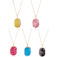 Zinc Alloy Sweater Chain Necklace, with iron chain & Resin, Flat Oval, gold color plated, imitation druzy quartz & oval chain, more colors for choice, lead & cadmium free, 35x20mm, Length:Approx 24 Inch, Sold By Strand