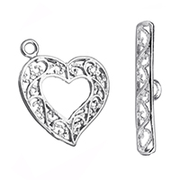 Brass Toggle Clasp, Heart, platinum color plated, hollow, 23x24x2mm, 4x26x2mm, Hole:Approx 2.5mm, Sold By Set