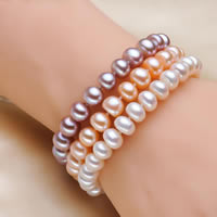 Cultured Freshwater Pearl Bracelets, Baroque, natural, more colors for choice, 8-9mm, Length:Approx 7 Inch, Sold By Strand