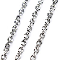 Stainless Steel Oval Chain, different size for choice, original color, 5m/Bag, Sold By Bag