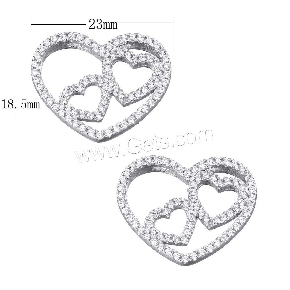 Cubic Zirconia Micro Pave Sterling Silver Pendant, 925 Sterling Silver, Heart, micro pave cubic zirconia & double-hole, 23x18.5x4.5mm, Hole:Approx 3.5x1.5mm, Sold By PC