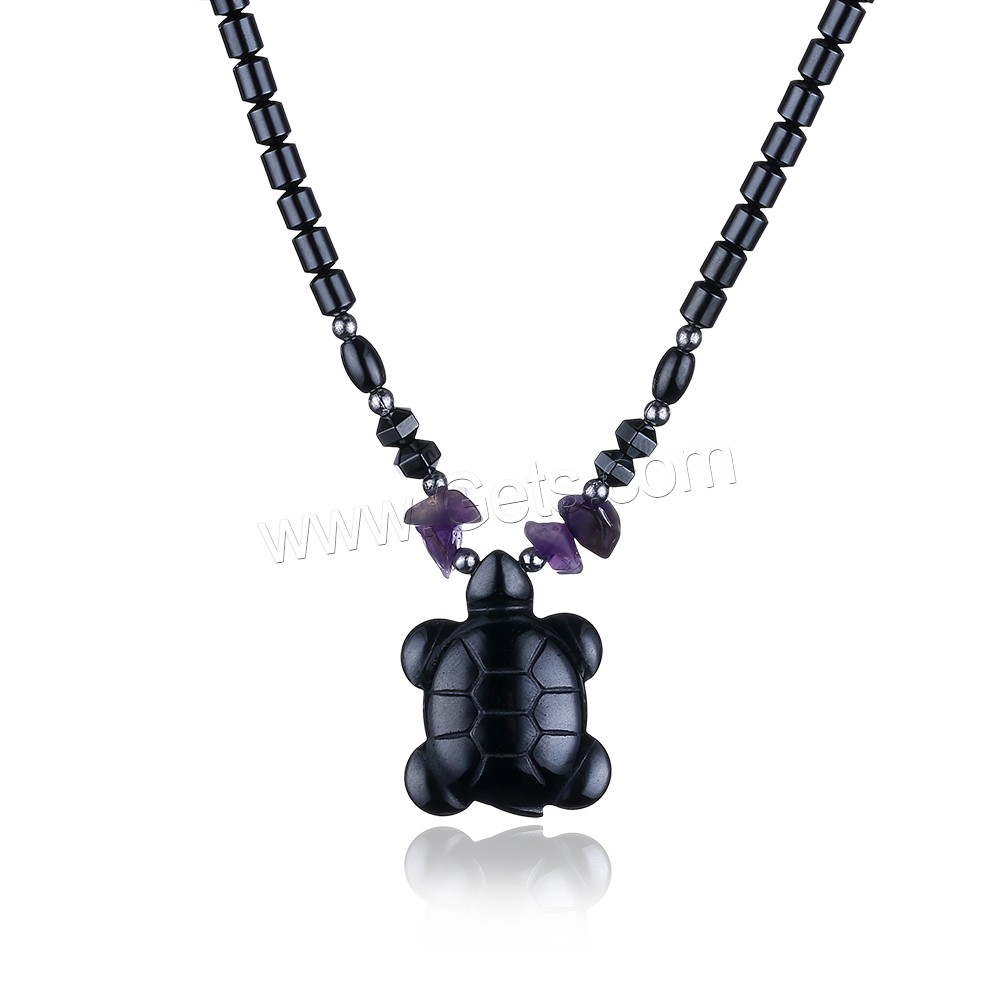 comeon® Jewelry Necklace, Non Magnetic Hematite, with Amethyst & Zinc Alloy, Turtle, platinum color plated, February Birthstone & natural & for woman, 22x29mm, Length:Approx 17.7 Inch, Sold By Strand