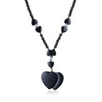 comeon® Jewelry Necklace, Non Magnetic Hematite, with Cats Eye & Zinc Alloy, Heart, platinum color plated, for woman, 37x52mm, Length:Approx 17.7 Inch, Sold By Strand