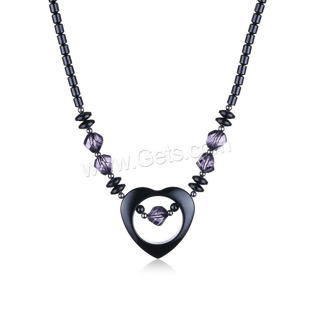 comeon® Jewelry Necklace, Non Magnetic Hematite, with Amethyst & Zinc Alloy, Heart, platinum color plated, February Birthstone & natural & for woman, 34x33mm, Length:Approx 17.7 Inch, Sold By Strand