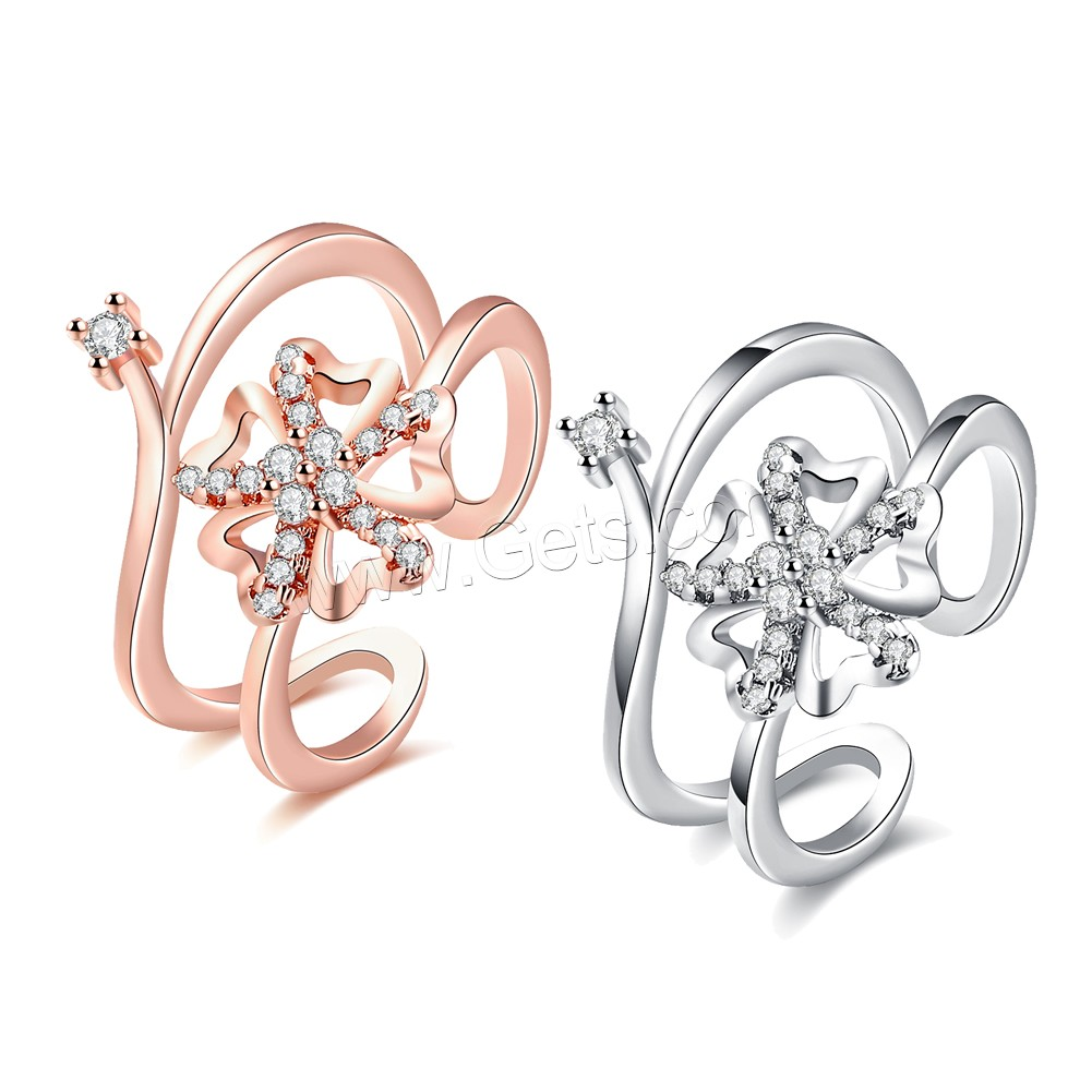 comeon® Finger Ring, Brass, Flower, plated, open & for woman & with cubic zirconia, more colors for choice, 18mm, US Ring Size:8, Sold By PC