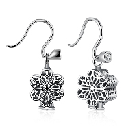 comeon® Jewelry Earring, 925 Sterling Silver, Flower, micro pave cubic zirconia & for woman & hollow & blacken, 11x17mm, Sold By Pair