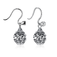 comeon® Jewelry Earring, 925 Sterling Silver, Round, with flower pattern & micro pave cubic zirconia & for woman & hollow & blacken, 11x17mm, Sold By Pair