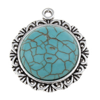Turquoise Zinc Alloy Pendants, with Synthetic Turquoise, Flat Round, antique silver color plated, lead & cadmium free, 28x32x7mm, Hole:Approx 2mm, Sold By PC