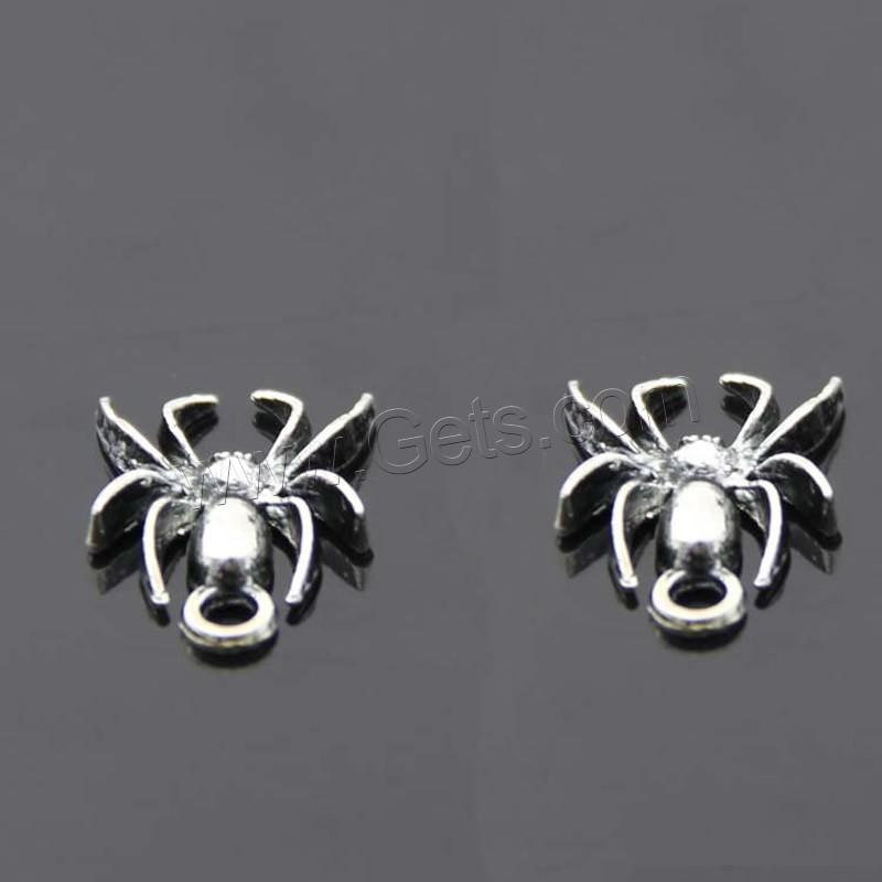 Zinc alloy animal pendants spider antique silver color