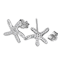 Cubic Zirconia Micro Pave Sterling Silver Earring, 925 Sterling Silver, Starfish, micro pave cubic zirconia, 12.5x14x12.5mm, Sold By Pair