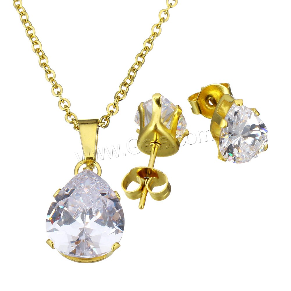 Cubic Zirconia Jewelry Sets : Cubic zirconia stainless steel jewelry sets earring