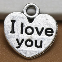 Zinc Alloy Heart Pendants, word I love you, antique silver color plated, lead & cadmium free, 12x11mm, Hole:Approx 1.5mm, 100PCs/Bag, Sold By Bag