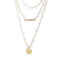 comeon® Jewelry Necklace, Zinc Alloy, with 1.96lnch extender chain, gold color plated, oval chain & for woman & 3-strand, Length:Approx 16.1 Inch, Sold By Strand
