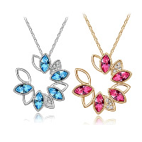 Crystal Zinc Alloy Pendants, with Crystal, Flower, plated, with rhinestone, more colors for choice, 34x34mm, Hole:Approx 3-5mm, Sold By PC