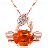 Crystal Zinc Alloy Pendants, with Crystal, Crab, rose gold color plated, with rhinestone, 22x19mm, Hole:Approx 3-5mm, Sold By PC