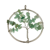 Aventurine Pendants, Zinc Alloy, with Green Aventurine, Tree, platinum color plated, natural & hollow, 51x57x7mm, Hole:Approx 3mm, Sold By PC