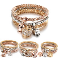 Zinc Alloy Bracelet Set, brass post pin, plated, charm bracelet & lantern chain & different styles for choice & for woman & with rhinestone, 6mm, Length:Approx 7.4 Inch, 3Strands/Set, Sold By Set