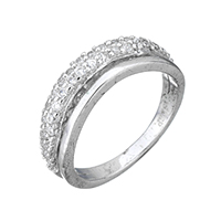 Cubic Zirconia Micro Pave Sterling Silver Finger Ring, 925 Sterling Silver, micro pave cubic zirconia & for woman, 5mm, US Ring Size:5, Sold By PC