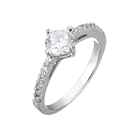 Cubic Zirconia Micro Pave Sterling Silver Finger Ring, 925 Sterling Silver, micro pave cubic zirconia & for woman, 8x7.5x6mm, US Ring Size:8, Sold By PC