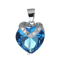 Cubic Zirconia Micro Pave Sterling Silver Pendant, 925 Sterling Silver, Heart, micro pave cubic zirconia, 15x18x12.5mm, Hole:Approx 4x6mm, Sold By PC