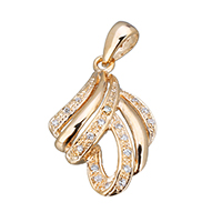 Cubic Zirconia Micro Pave Sterling Silver Pendant, 925 Sterling Silver, real gold plated, micro pave cubic zirconia, 14.5x23.5x4mm, Hole:Approx 3x5mm, Sold By PC