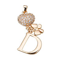 Cubic Zirconia Micro Pave Sterling Silver Pendant, 925 Sterling Silver, Heart, real gold plated, with letter pattern & micro pave cubic zirconia, 34mm, 13x15.5x2mm, Hole:Approx 2.5x3.5mm, Sold By PC