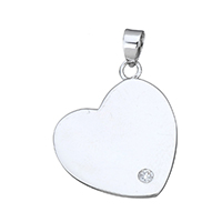 Cubic Zirconia Micro Pave Sterling Silver Pendant, 925 Sterling Silver, Heart, micro pave cubic zirconia, 17x20x1mm, Hole:Approx 3x4mm, Sold By PC