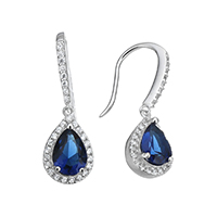 Cubic Zirconia Micro Pave Sterling Silver Earring, 925 Sterling Silver, Teardrop, micro pave cubic zirconia, 27mm, 8.5x13.5x5.5mm, Sold By Pair
