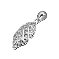 Cubic Zirconia Micro Pave Sterling Silver Pendant, 925 Sterling Silver, micro pave cubic zirconia, 9x19x3mm, Hole:Approx 3x4mm, Sold By PC
