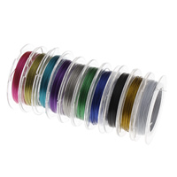 Tiger Tail Wire, with paper spool, electrophoresis, mixed colors, 0.38mm, 10PCs/Lot, 15m/PC, Sold By Lot