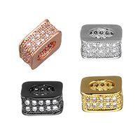 Cubic Zirconia Micro Pave Brass European Bead, plated, micro pave cubic zirconia & without troll, more colors for choice, 8x4x8mm, Hole:Approx 4.7mm, Sold By PC