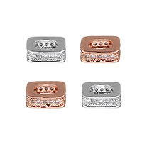 Cubic Zirconia Micro Pave Brass European Bead, plated, micro pave cubic zirconia & without troll, more colors for choice, 8x2.5x8mm, Hole:Approx 4.7mm, Sold By PC