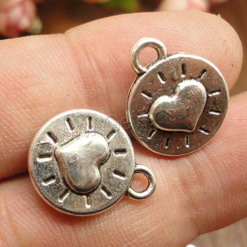 Zinc alloy flat round pendants antique silver color plated