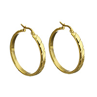 Stainless Steel Hoop Earring, gold color plated, for woman, 4x35.5x34mm, Sold By Pair