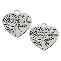 Zinc Alloy Heart Pendants, antique silver color plated, with letter pattern, lead & cadmium free, 28x29x2mm, Hole:Approx 3.5mm, Sold By PC